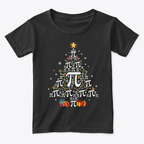Christmas Math Pi Tree Gift Math Teacher Black T-Shirt Front