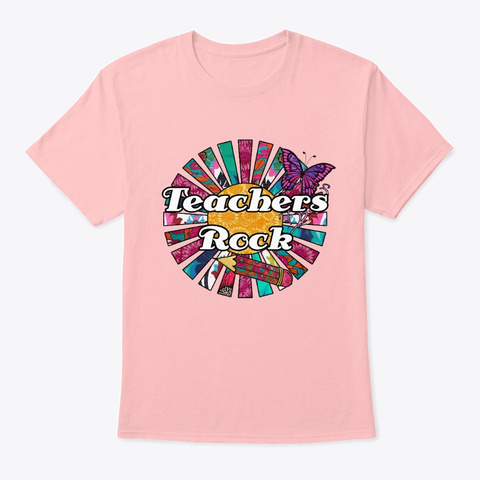 Teachers Rock Pink Retro Collage Pale Pink T-Shirt Front