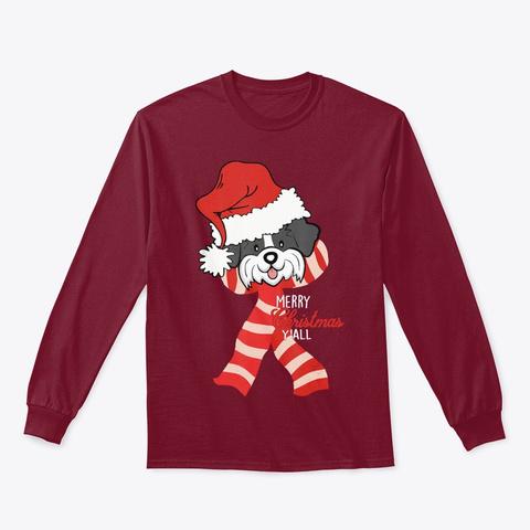 Merry Christmas Y'all Santa Shih Tzu Dog Cardinal Red T-Shirt Front
