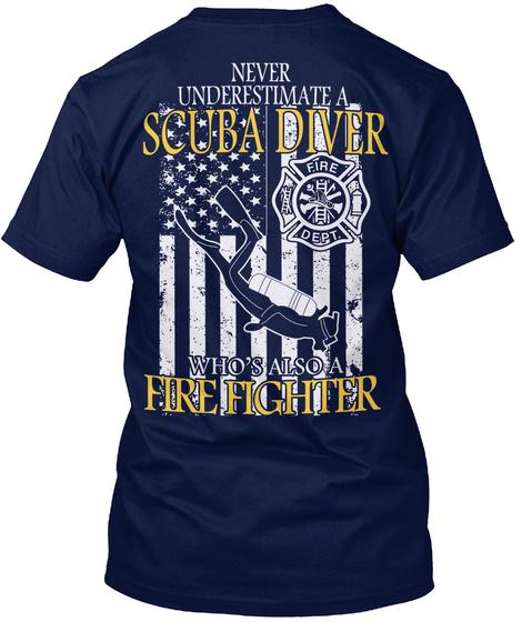 Scuba Firefighter Shirt Navy T-Shirt Back
