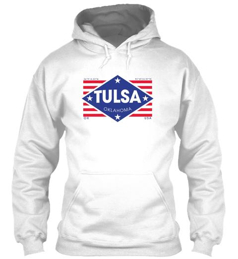 Tulsa, Oklahoma Diamond Flag White T-Shirt Front