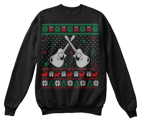 Ugly Acoustic Guitar Christmas Sweater Black T-Shirt Front