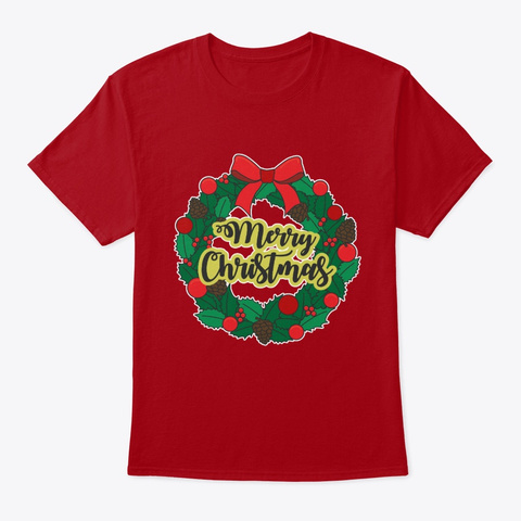 Christmas Wreath Deep Red T-Shirt Front