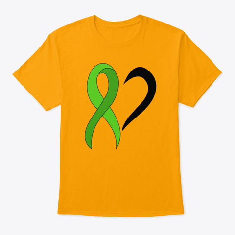Green Awareness Ribbon Heart Gift Leuke Gold T-Shirt Front