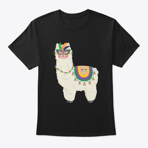 Funny Mardi Gras Llama Fat Shirt Black T-Shirt Front