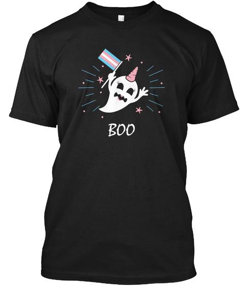 Trans Ghost Transgender Pride Flag Black T-Shirt Front