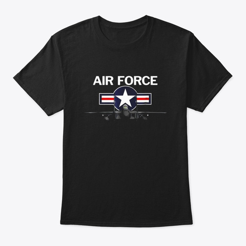 Air Force T Shirt With Vintage Roundel Black T-Shirt Front
