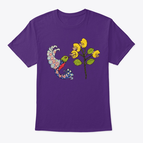 Hummingbird Feeding On Yellow Flowers Purple T-Shirt Front