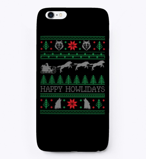 Funny Wolves Wolf Ugly Christmas Sweater Black T-Shirt Front