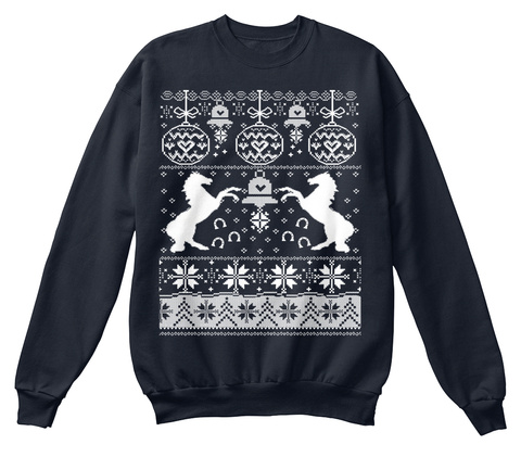 Horse Christmas, Horse Lover French Navy Sweatshirt Front