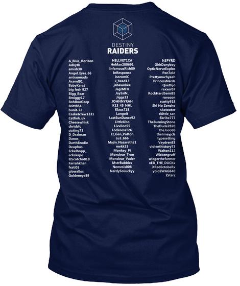Destiny Raiders Navy T-Shirt Back
