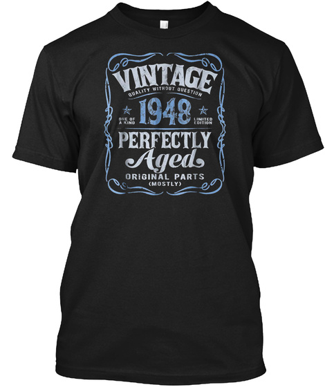 Vintage Made In 1948 T Shirt 71st Birthd Black T-Shirt Front
