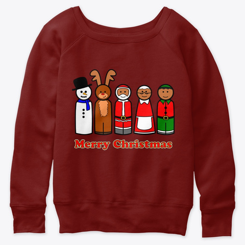 Christmas Wooden Peg Doll Family Dark Red Triblend T-Shirt Front