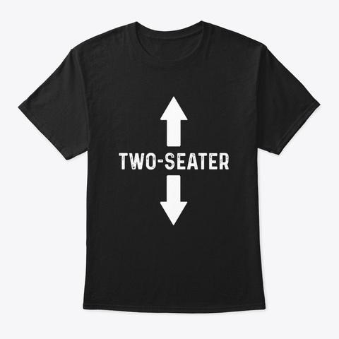 Funny Two Seater Arrow Parody Joke Black T-Shirt Front