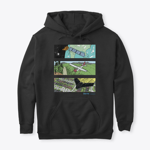 Aerial Images And Mapping Black T-Shirt Front