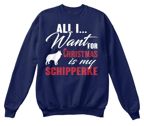 Schipperke Ugly Christmas Sweater Navy  T-Shirt Front