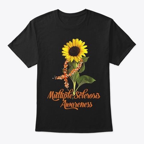 Sunflower Multiple Sclerosis Survivor Black T-Shirt Front