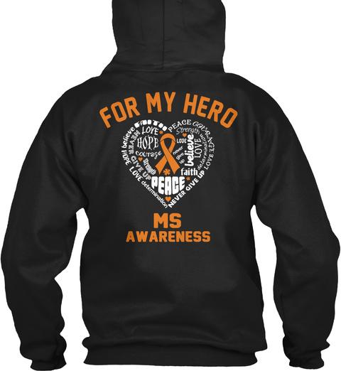For My Hero Ms Awareness Black T-Shirt Back
