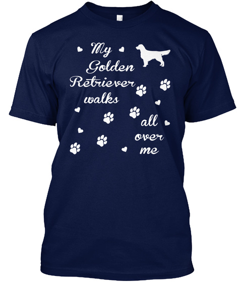 Golden Retriever Navy T-Shirt Front