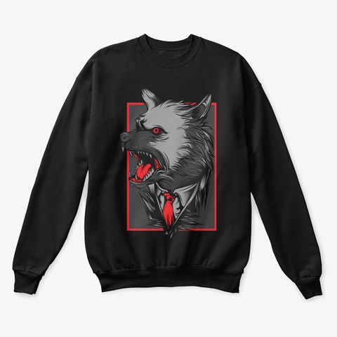 Angry Wolf Black T-Shirt Front