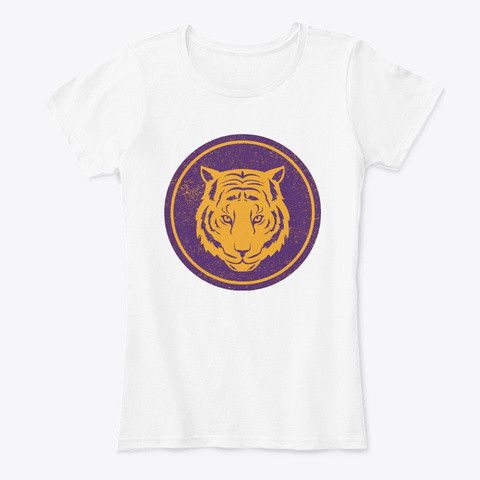 Tiger Head Distressed White T-Shirt Front