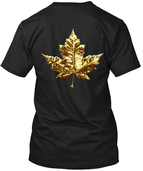 Gold Canada Maple Leaf Souvenirs Black T-Shirt Back