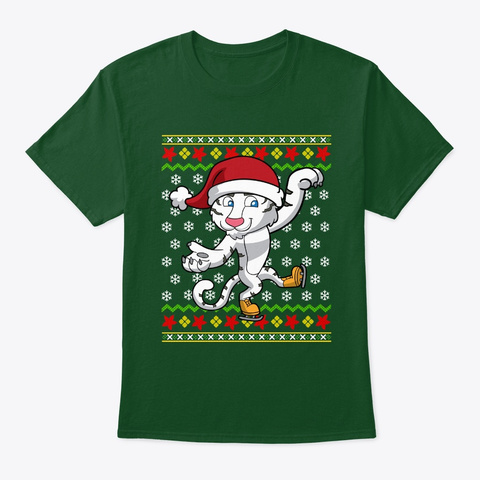 White Tiger Ice Skate Ugly Christmas Deep Forest T-Shirt Front