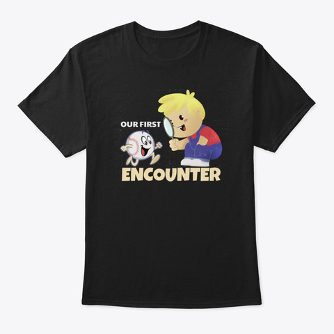 First Encounter With Baseball Black T-Shirt Front