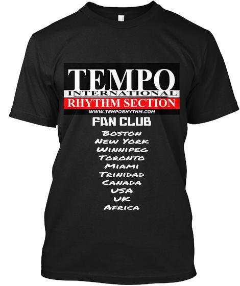 Fan Club  Boston New York Winnipeg Toronto Miami Trinidad Canada Usa Uk Africa  Black T-Shirt Front