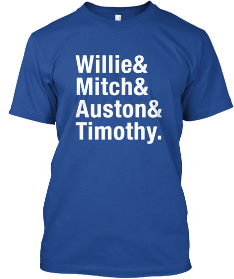 Willie Mitch Auston Timothy Deep Royal T-Shirt Front