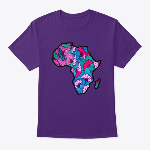 Purple Pink  Floral Print Map Purple T-Shirt Front