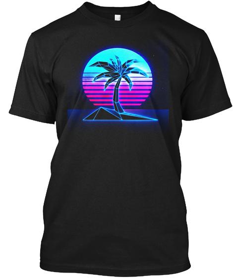 Vaporwave T Shirt Summer Palm Tree Sunse Black T-Shirt Front