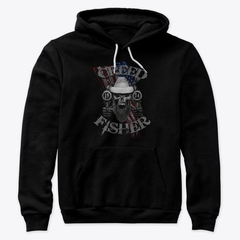 American Outlaw   Skull Usa Flag Black T-Shirt Front