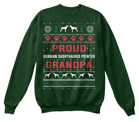 German Shorthaired Pointer Ugly Christma Deep Forest  T-Shirt Front