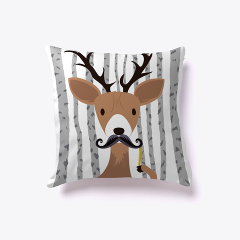 Deerstache   Christmas Pillow White T-Shirt Front