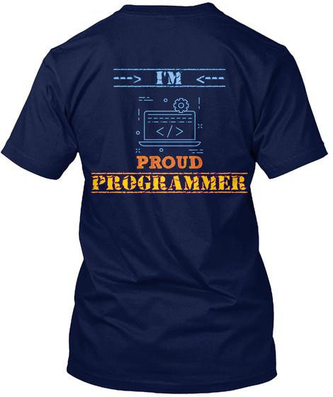 > I'm <     Proud Programmer Navy T-Shirt Back