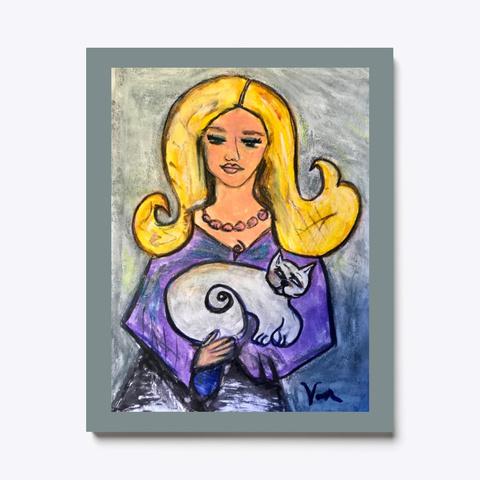 Cat Lady 2 Folk Art Blonde Medium Grey T-Shirt Front