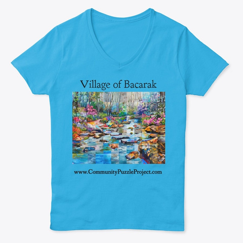 Village Of Bacarak Puzzle Products Aquatic Blue  T-Shirt Front
