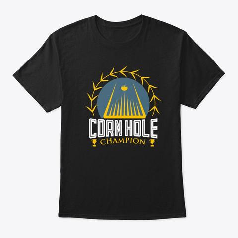 Cornhole Champion Retro Tournament  Black T-Shirt Front