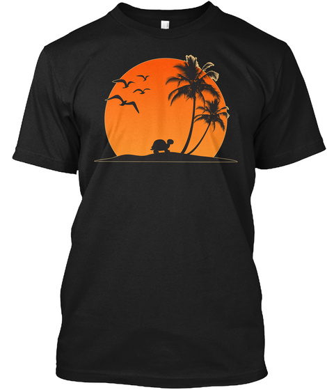 Turtle And Palm (N) Black T-Shirt Front
