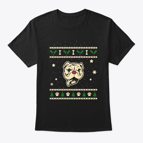 Christmas Bulldog Gift Black T-Shirt Front