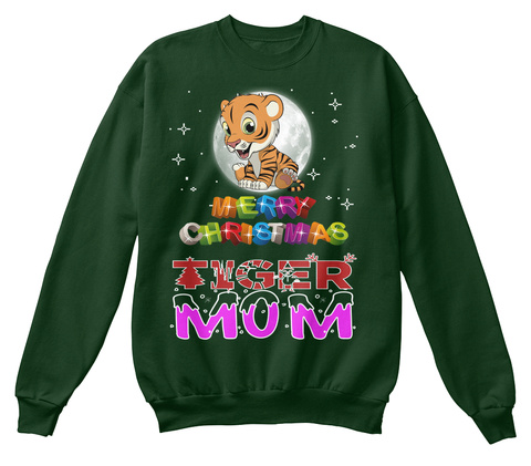 Tiger Mom Merry Christmas Deep Forest  T-Shirt Front