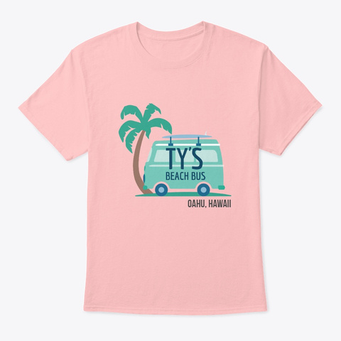 Ty's Beach Bus Palm Tree Pale Pink T-Shirt Front