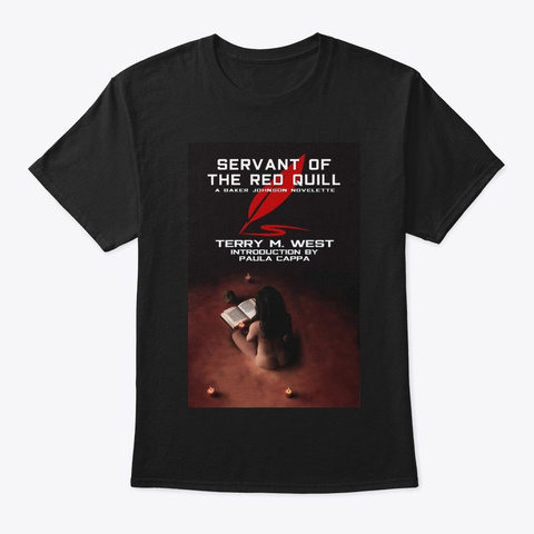 Servant Of The Red Quill Book Cover Tee Black T-Shirt Front
