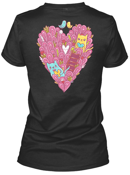 Valentine's Cats In Love Black T-Shirt Back