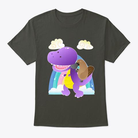 Platypus Riding T Rex Smoke Gray T-Shirt Front