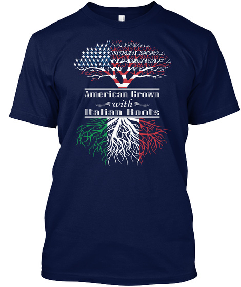 American Crown With Italian Roots Navy T-Shirt Front