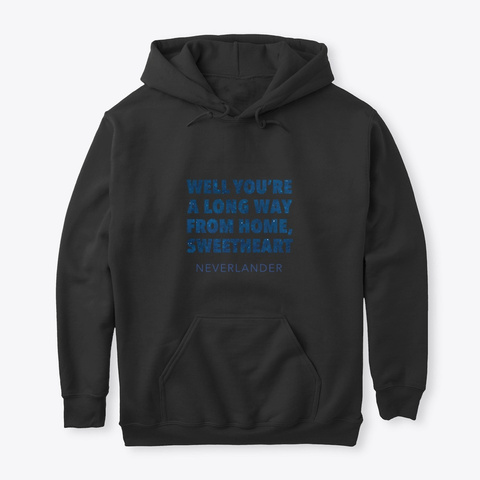 'a Long Way From Home' Hoodie Black T-Shirt Front