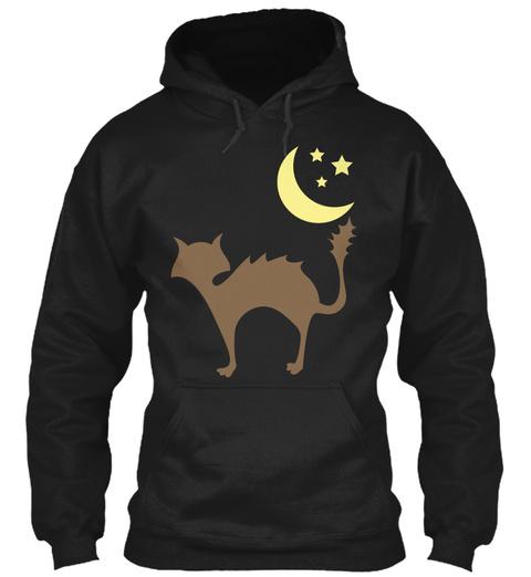 Hoodie Cat Moon Stars Black T-Shirt Front