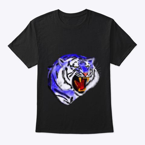Tiger In Blue Black T-Shirt Front